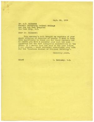 Primary view of object titled '[Letter from Meyer Bodansky to A. T. Milhorat - September 20, 1939]'.