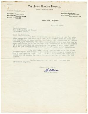 Primary view of object titled '[Letter from L. M. Hellman to Meyer Bodansky - October 16, 1939]'.