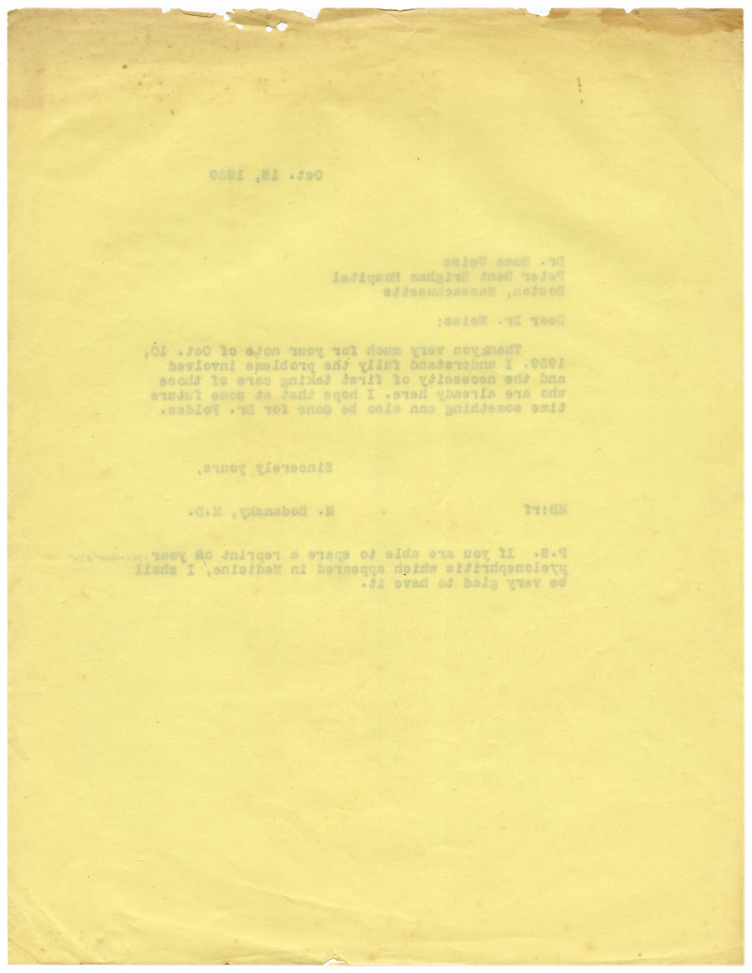 [Letter from Meyer Bodansky to Soma Weiss - October 18, 1939]                                                                                                      [Sequence #]: 2 of 2