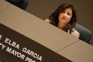 Primary view of object titled '[Elba Garcia in tilted photo during meeting]'.