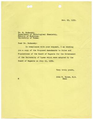 Primary view of object titled '[Letter from John W. Spies to Meyer Bodansky - November 29, 1939]'.