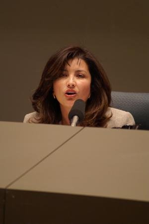 Primary view of object titled '[Elba Garcia speaking at meeting]'.