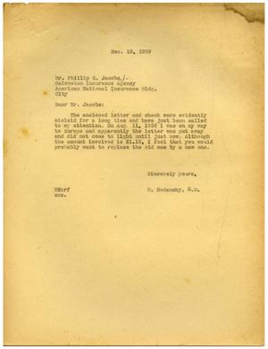 Primary view of object titled '[Letter from Meyer Bodansky to Phillip E. Jacobs - December 1939]'.