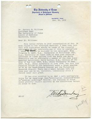 Primary view of object titled '[Letter from Meyer Bodansky to Jarrett E. Williams - December 26, 1939]'.
