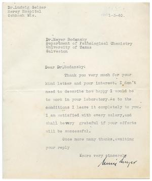 Primary view of object titled '[Letter from Ludwig Selzer to Meyer Bodansky - January 3, 1940'.