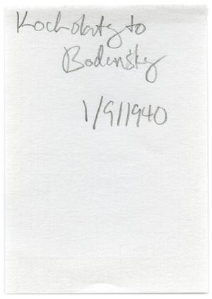 Primary view of object titled '[Note from Kocholaty to Bodansky - January 9, 1940]'.