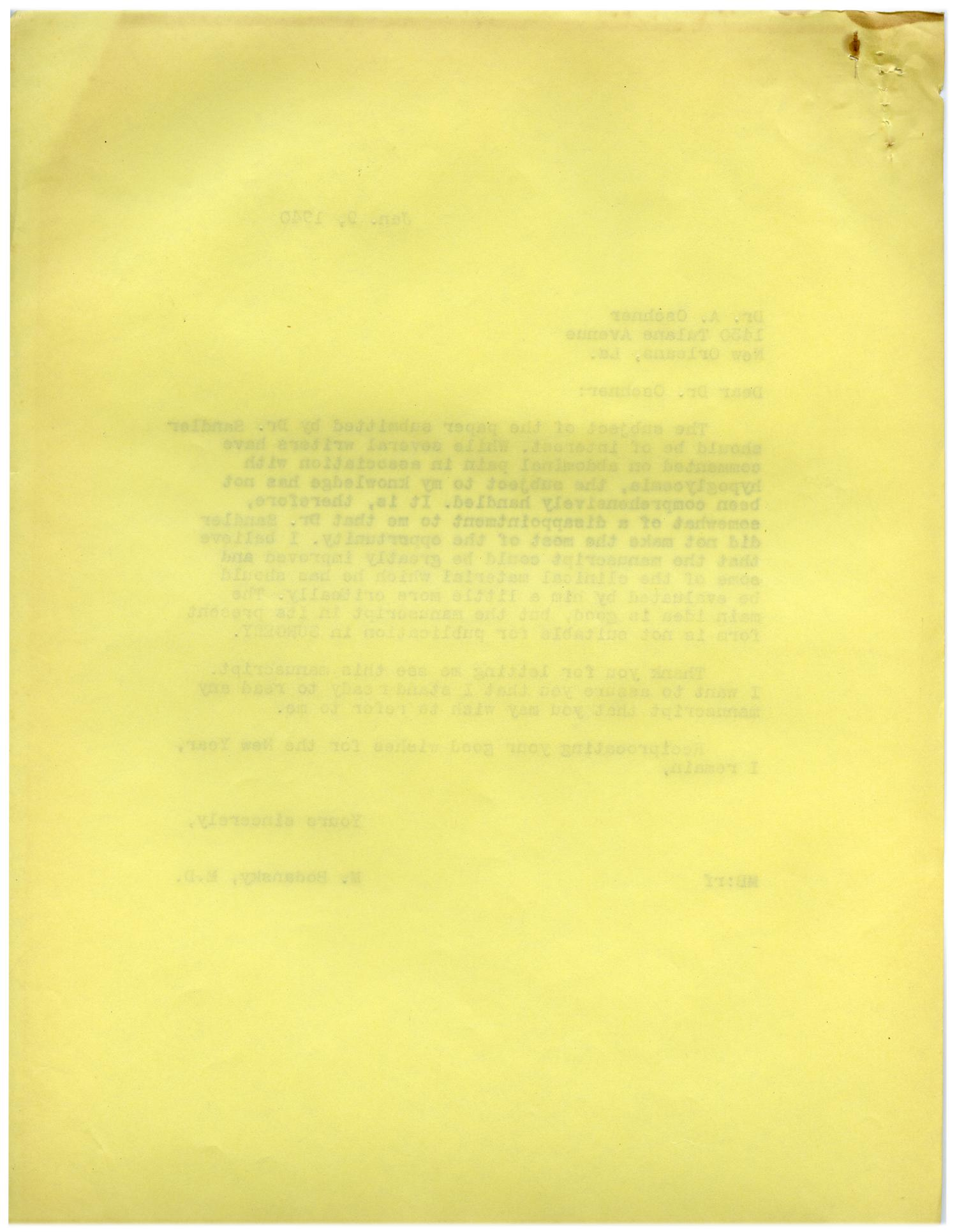 [Correspondence between Meyer Bodansky and A. Oschner - January 1940]                                                                                                      [Sequence #]: 2 of 4