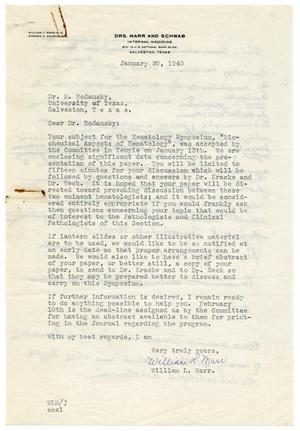Primary view of object titled '[Letter from William L. Marr to Meyer Bodansky - January 20, 1940]'.