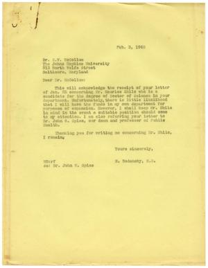 Primary view of object titled '[Letter from Meyer Bodansky to Dr. E. V. McCollum - February 3, 1940]'.