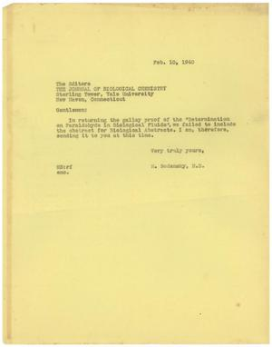 Primary view of object titled '[Letter from Meyer Bodansky - February 10, 1940]'.