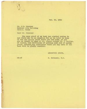 Primary view of object titled '[Letter from Meyer Bodansky - February 20, 1940]'.