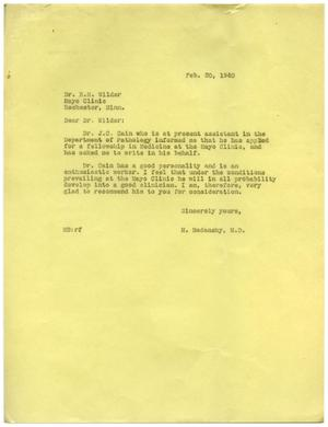 Primary view of object titled '[Letter from Meyer Bodansky to R. M. Wilder - February 20, 1940]'.
