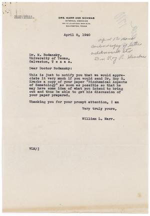 Primary view of object titled '[Letter from William L. Marr to Meyer Bodansky - April 8, 1940]'.