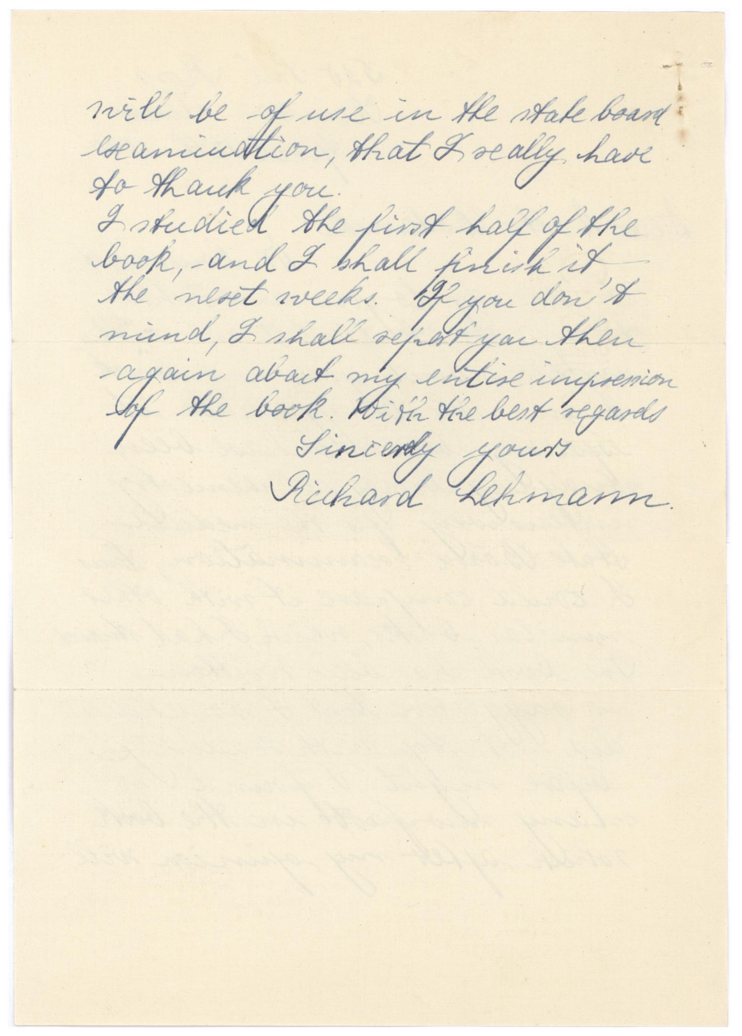 [Correspondence between Richard Lehmann and Meyer Bodansky - April 1940]                                                                                                      [Sequence #]: 4 of 4