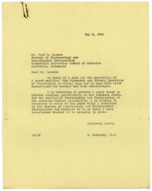 Primary view of object titled '[Letter from Meyer Bodansky to Paul D. Lamson - May 2, 1940]'.