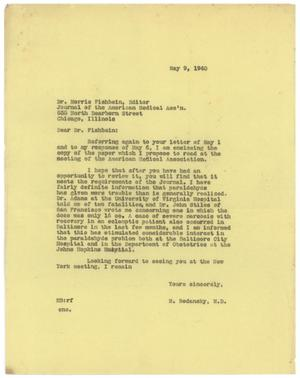 Primary view of object titled '[Letter from Meyer Bodansky to Morris Fishbein - May 9, 1940]'.