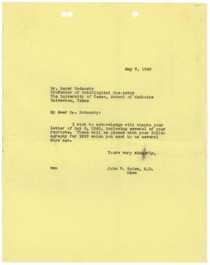 Primary view of object titled '[Correspondence between John W. Spies and Meyer Bodansky - May 1940]'.