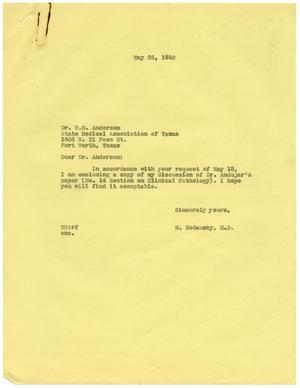 Primary view of object titled '[Correspondence between Meyer Bodansky and R. B. Anderson - May 1940]'.