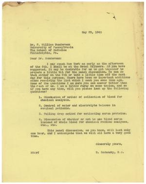 Primary view of object titled '[Letter from Meyer Bodansky to F. William Dunderman - May 29, 1940]'.