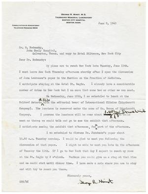 Primary view of object titled '[Letter from George R. Minot to Meyer Bodansky - June 3, 1940]'.