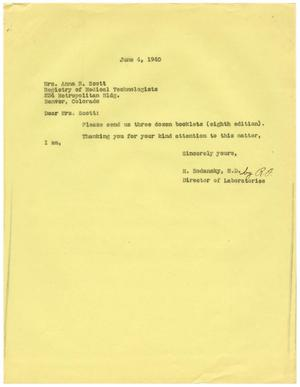 Primary view of object titled '[Letter from Meyer Bodansky to Anna R. Scott - June 4, 1940]'.