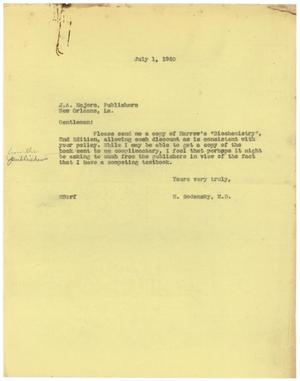 Primary view of object titled '[Letter from Meyer Bodansky to J. A. Majors - July 1, 1940]'.