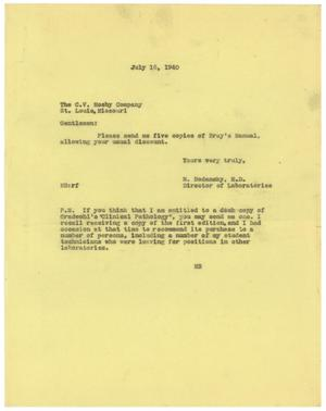 Primary view of object titled '[Letter from Meyer Bodansky to C.V. Mosby Company - July 16, 1940]'.