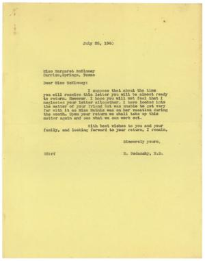 Primary view of object titled '[Correspondence between Margaret McKinney and Meyer Bodansky - July 1940]'.