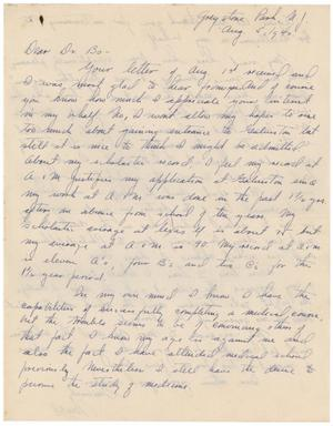 Primary view of object titled '[Letter to Meyer Bodansky - August 5, 1940]'.