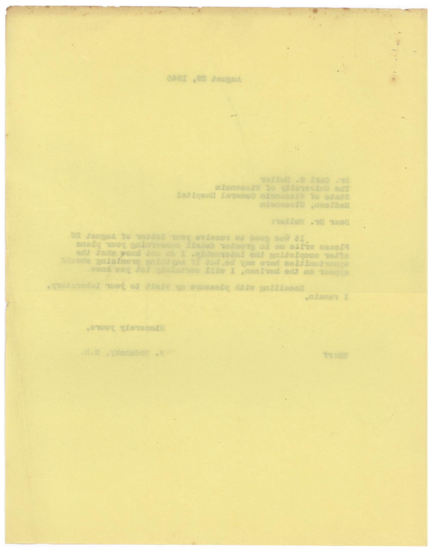 [Correspondence between Meyer Bodansky and Carl G. Heller - August 1940]                                                                                                      [Sequence #]: 2 of 4