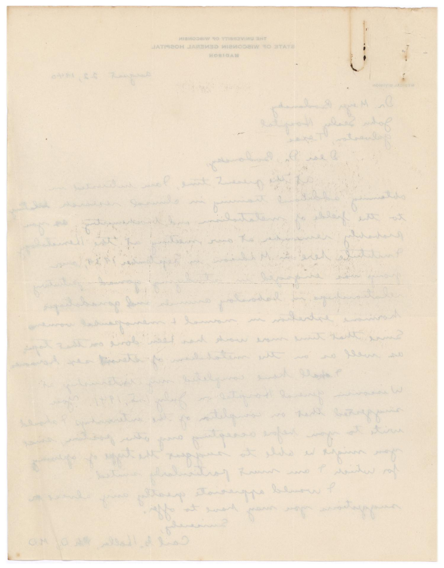 [Correspondence between Meyer Bodansky and Carl G. Heller - August 1940]                                                                                                      [Sequence #]: 4 of 4