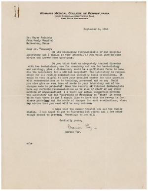 Primary view of object titled '[Letter from Marion Fay to Meyer Bodansky - September 6, 1940]'.