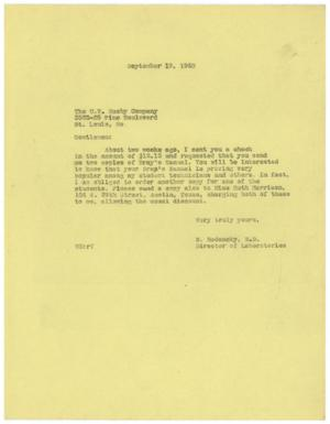 Primary view of object titled '[Letter from Meyer Bodansky to the C. V. Mosby Company - September 19, 1940]'.