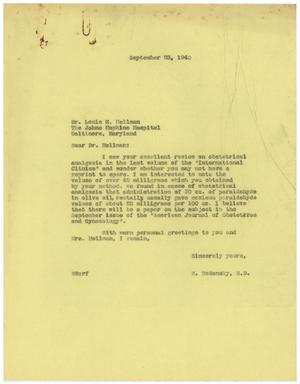 Primary view of object titled '[Letter from Meyer Bodansky to Louis H. Hellman - September 23, 1940]'.