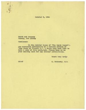 Primary view of object titled '[Letter from Meyer Bodansky to Merck and Company - October 2, 1940]'.