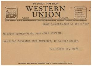 Primary view of object titled '[Telegram from L. A. Herbert to Meyer Bodansky - October 8, 1940]'.