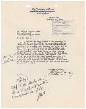 Primary view of object titled '[Letter from Meyer Bodansky to John W. Spies, October 10, 1940]'.