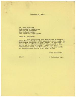 Primary view of object titled '[Correspondence between Meyer Bodansky and John Marshall - October 1940]'.