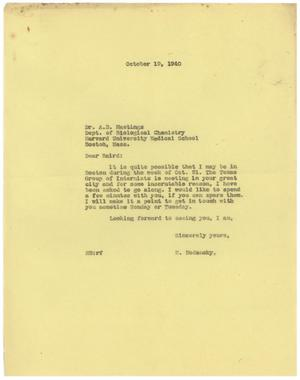 Primary view of object titled '[Letter from Meyer Bodansky to A. B. Hastings - October 19, 1940]'.