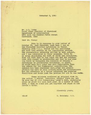 Primary view of [Correspondence Between Meyer Bodansky and Anna M. Young - October-November 1940]