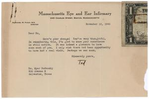 Primary view of object titled '[Letter from Theodore L. Terry to Meyer Bodansky - November 12, 1940]'.