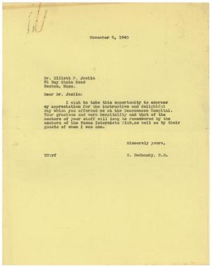 Primary view of object titled '[Letter from Meyer Bodansky to Elliott P. Joslin - November 5, 1940]'.