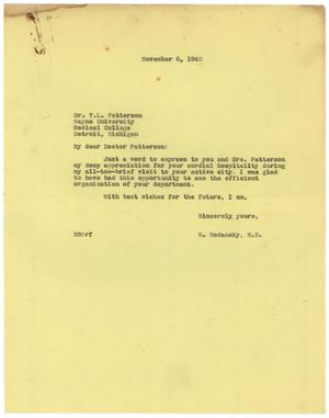 Primary view of object titled '[Letter from Meyer Bodansky to T. L. Patterson - November 6, 1940]'.