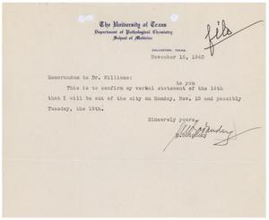 Primary view of object titled '[Letter from Meyer Bodansky to Dr. Williams - November 16, 1940]'.