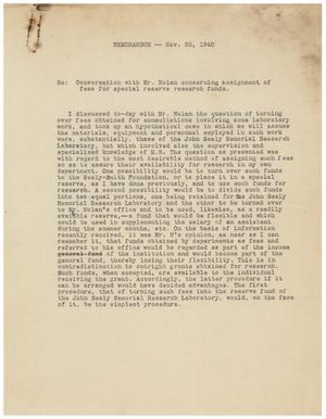 Primary view of object titled '[Memorandum of a Conversation with Mr. Nolan - November 23, 1940]'.