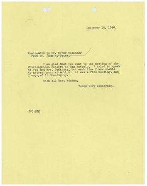 Primary view of object titled '[Correspondence between Meyer Bodansky and John W. Spies - December 1940]'.