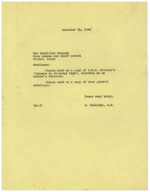 Primary view of object titled '[Letter from Meyer Bodansky to the Macmillan Company - December 31, 1940]'.