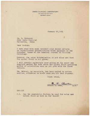 Primary view of object titled '[Letter from Robert G. Owen to Meyer Bodansky - January 30, 1941]'.