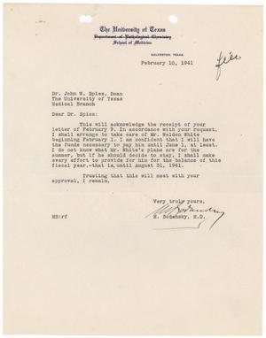 Primary view of object titled '[Letter from Meyer Bodansky to John W. Spies - February 10, 1941]'.