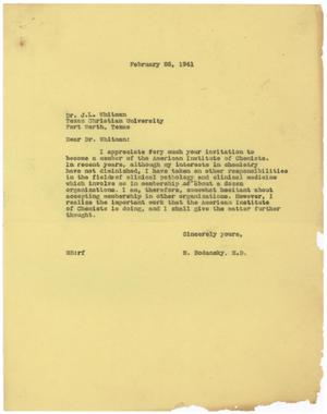 Primary view of object titled '[Correspondence between Meyer Bodansky and J. L. Whitman - February 1941]'.